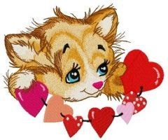Little kitten with garland of hearts embroidery design