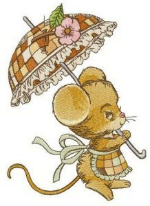 Little lady Mouse embroidery design