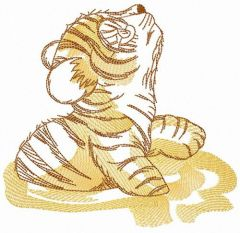 Little tiger in mud embroidery design