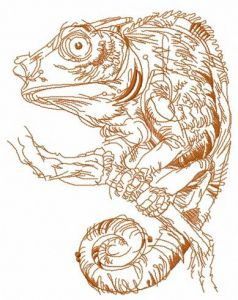 Lizard on tree branch sketch embroidery design