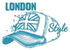 London style: cap sketch embroidery design