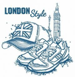 London style: cap and sneakers sketch embroidery design