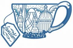 London tea cup embroidery design