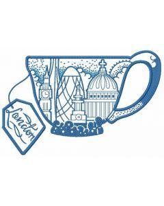 London tea cup embroidery design
