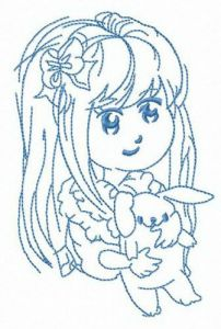 Long haired girl with bunny embroidery design