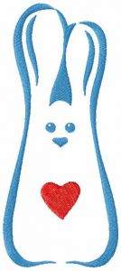 Bunny with love embroidery design