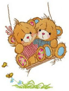 Lovely bears swing on a swing embroidery design