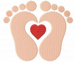 Loving baby footprints embroidery design