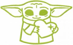 Loving baby yoda one colored embroidery design