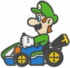 Luigi on the cart embroidery design