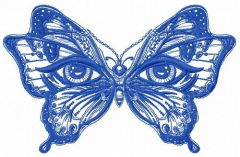Magic eyes butterfly embroidery design