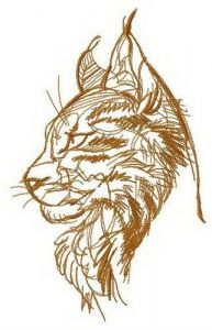 Maine coon cat embroidery design