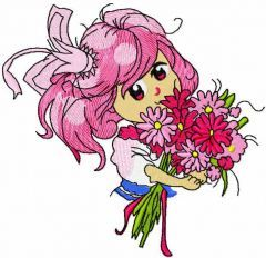 Malvina with flower bouquet embroidery design