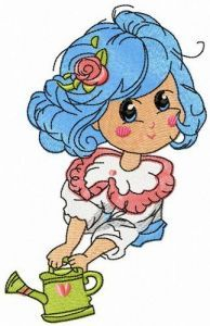 Malvina with watering can embroidery design
