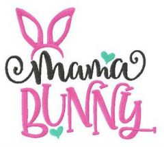 Mama bunny embroidery design