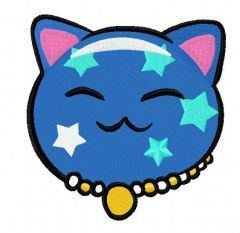 Maneki Neko star kitty 3 embroidery design