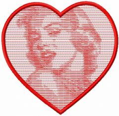 Marilyn Monroe heart embroidery design