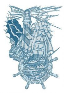 Marine collage embroidery design