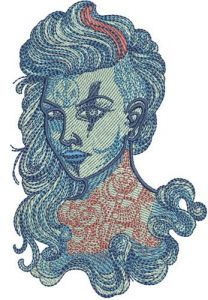 Marine witch embroidery design
