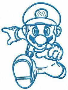 Mario runs embroidery design