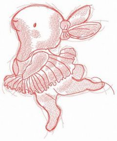 Marvelous bunny ballerina embroidery design