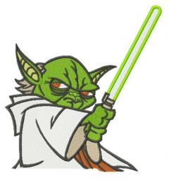 Master Yoda with sword embroidery design
