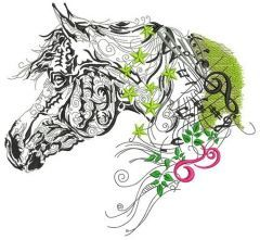Melody horse embroidery design