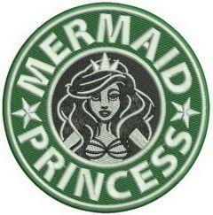 Mermaid princess embroidery design