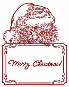 Merry Christmas kitten embroidery design