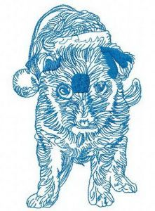 Merry Christmas puppy 2 embroidery design