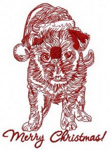 Merry Christmas puppy embroidery design