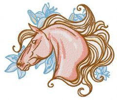 Mettlesome horse embroidery design