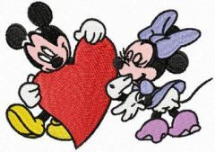 Mickey and Minnie Mouse Valentine*s day embroidery design