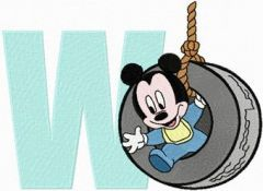 Mickey Mouse W Wheel embroidery design