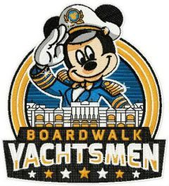 Mickey boardwalk yachtsman embroidery design