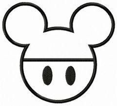Mickey emblem applique embroidery design