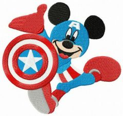 Mickey in Captain America costume embroidery design
