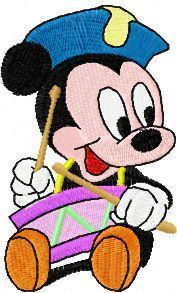 Mickey Mouse with a drum embroidery design