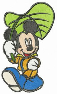 Mickey Mouse with leaf umbrella embroidery design