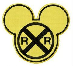Mickey railroad crossing sign embroidery design