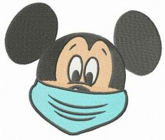 Mickey wears face mask embroidery design