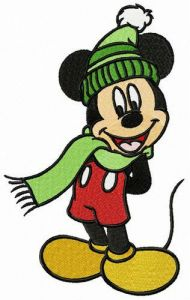 Mickey wear warm hat and scarf embroidery design