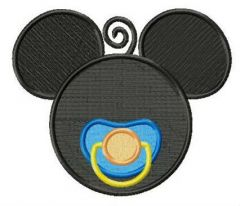 Mickey with baby dummy embroidery design