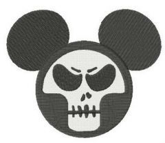 Mickey with skull mask embroidery design