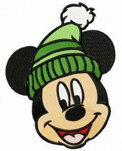 Mickey's knitted hat embroidery design