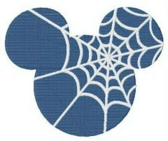 Mickey's silhouette with spider web embroidery design