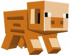Minecraft pig embroidery design