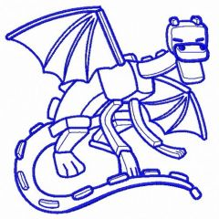 Minecraft dragon machine embroidery design 2