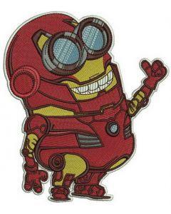 Minion in Iron Man costume embroidery design