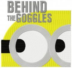 Minion: behind the goggles embroidery design